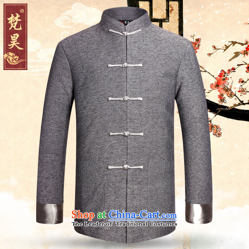 Van Gogh's older cotton linen Tang jackets and chinese collar jacket with the use of sub-father autumn and winter, W0908?3XL Gray