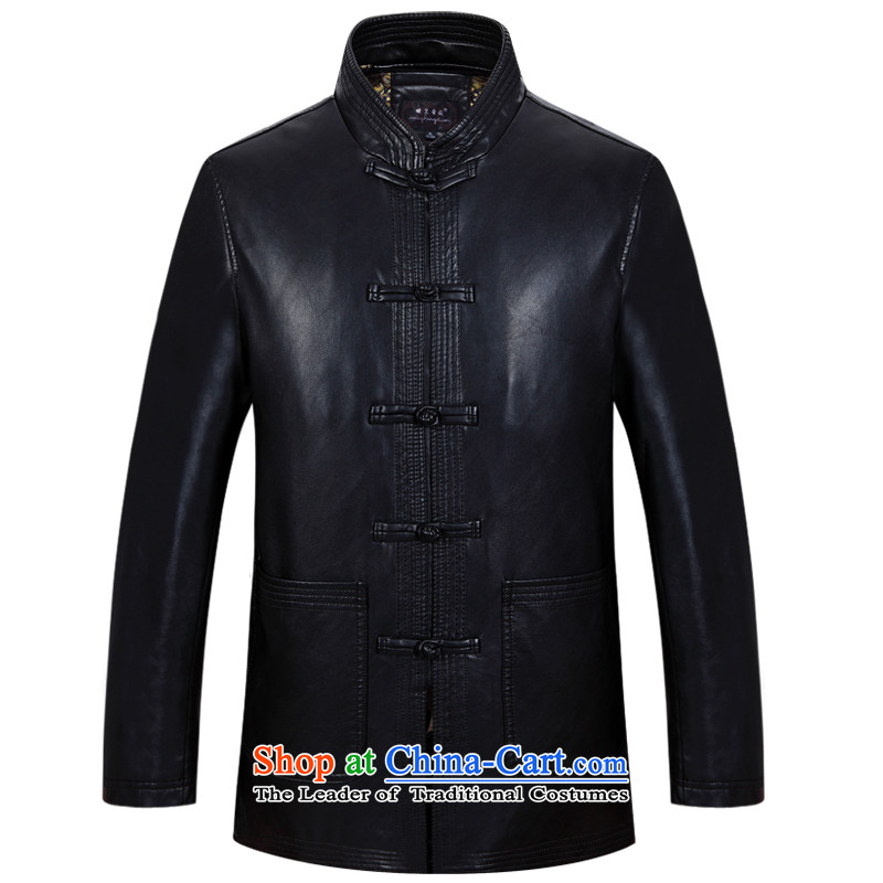 Ming Emperor Wei 2015 new autumn and winter from older men Tang add cotton leather jacket Chinese Disc tie china wind national costume father grandfather went retro Han-black XXXXL