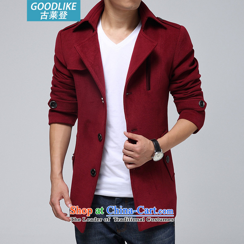 Goulley Log 2015 autumn and winter larger men Chinese tunic windbreaker men? coats jacket and gross�M(90-100 red coal)