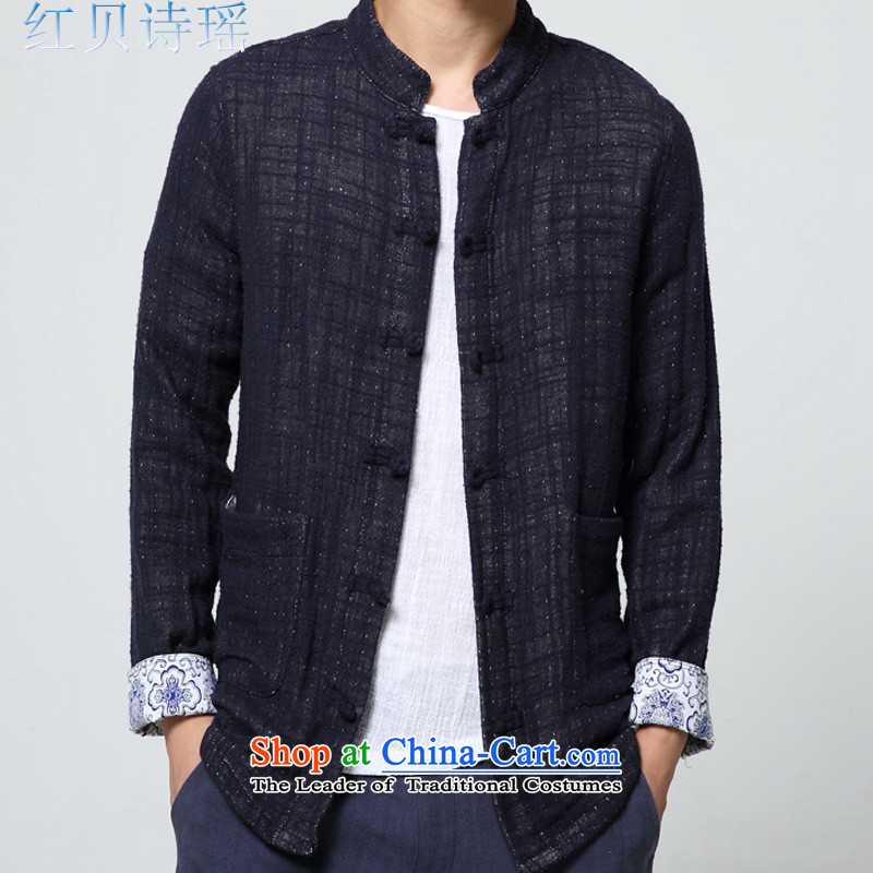 Red Addis Ababa poem Yao聽2015 autumn and winter new national China Wind Jacket very casual male linen coat collar Tang Dynasty Chinese Han-cotton linen navy blue T-shirt material聽XL