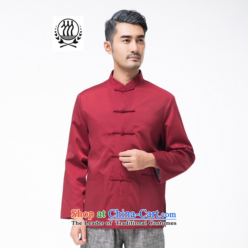Bosnia and the elderly in the line thre autumn and winter new men embroidery Tang Blouses Chinese collar tray clip pure color Tang dynasty grandpa father replacing燜768牋M_170 red