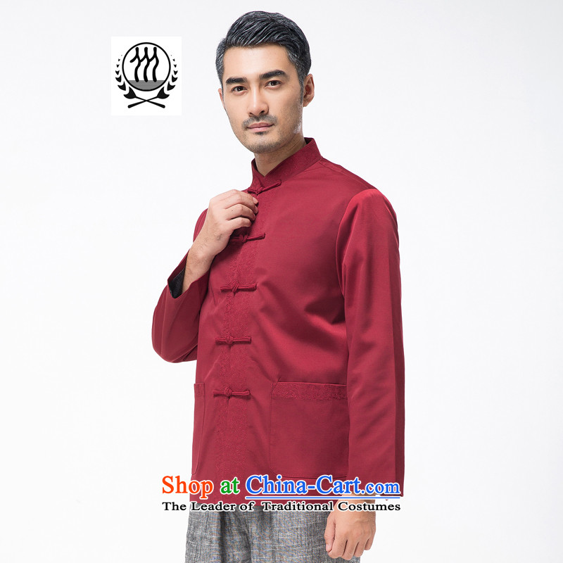 Bosnia and the elderly in the line thre autumn and winter new men embroidery Tang Blouses Chinese collar tray clip pure color Tang dynasty grandpa father replacing聽F768聽聽M/170, Red Line (gesaxing Bosnia and thre) , , , shopping on the Internet