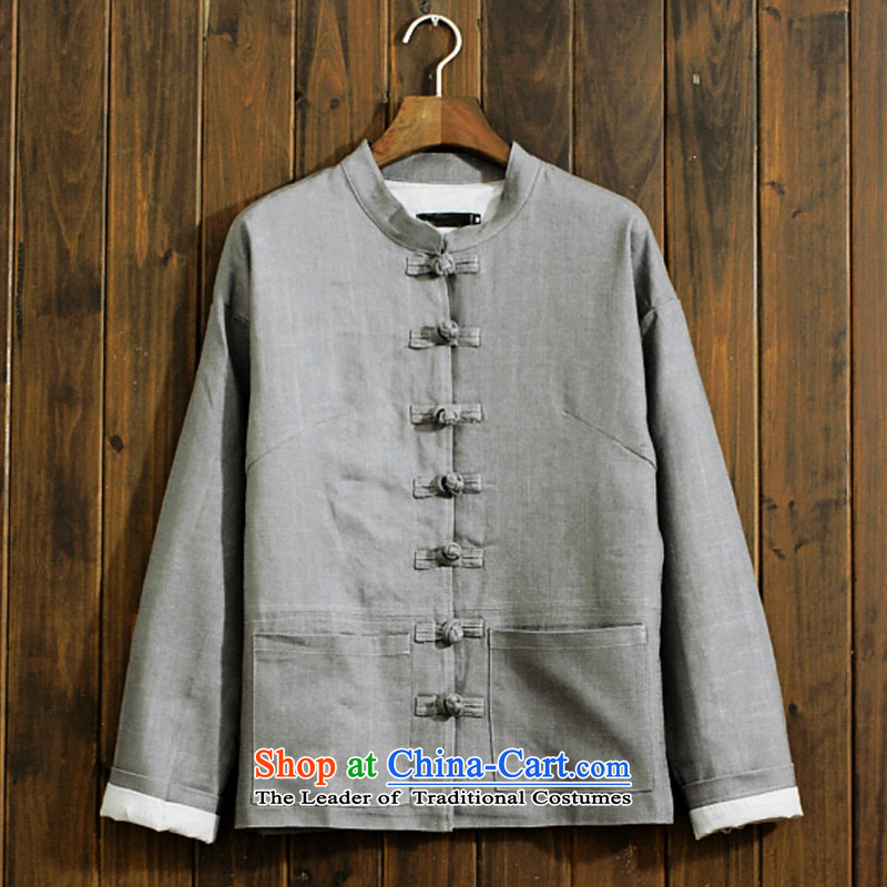 Ancient Chinese tunic literary a Chinese traditional clothes men Fall/Winter Collections 2015 New Tang dynasty retro national wind jacket linen Han-cannabis jacket male and peacock blue jacket,聽165/M -聽ideal for 100-120, uncluttered (whitedrew) , , , shop
