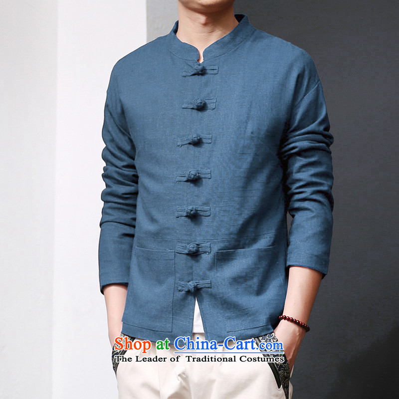 Ancient Chinese tunic literary a Chinese traditional clothes men Fall/Winter Collections 2015 New Tang dynasty retro national wind jacket linen Han-cannabis jacket male and peacock blue jacket, 170/L - 120-135 for a catty