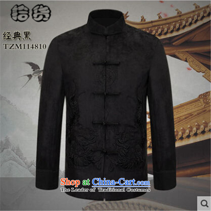 The 2015 autumn pick the new national wind in elderly men blouses father load pattern collar up stamp detained men pure color dress classic black 190