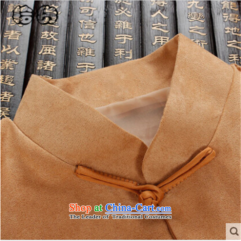 The 2015 autumn pick the new national wind in elderly men blouses father load pattern collar up stamp charge solid color black聽190, Male dress classic pickup (shihuo) , , , shopping on the Internet