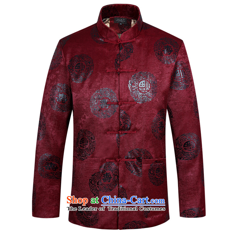 Ming Emperor Wei 2015 new autumn and winter men in Tang Dynasty older China Wind Jacket Chinese father unlined garment replacing replacing traditional ethnic grandpa tray snap happy leisure fu shou wine red cotton 185(XXXL) Plus
