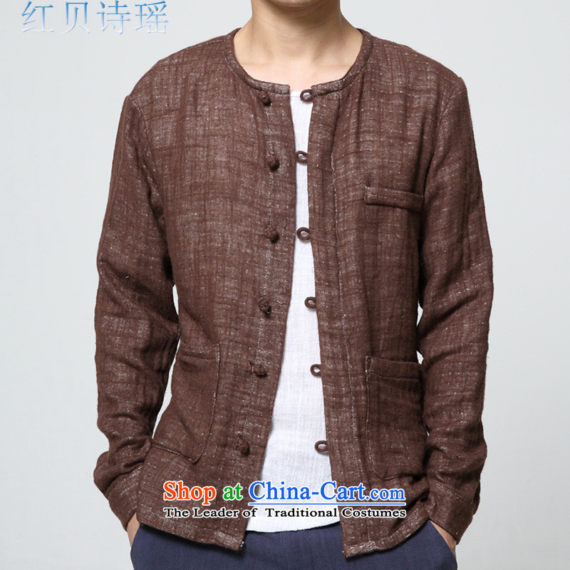 Red Addis Ababa poem Yao? 2015 autumn and winter new men retro China wind linen clothes Chinese leisure cotton linen long-sleeved sweater jacket male Tang dynasty brown?XXL