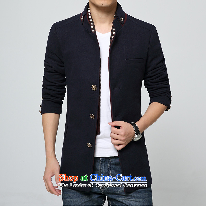 Mrs Rafael Hui Carter empty Road Chinese tunic autumn and winter thick hair? collar windbreaker Chinese tunic men can be shirked for winter clothing material? Zi Feng Yi XXXL blue