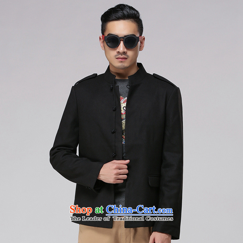 Dan Jie Shi China wind cotton linen Tang Gown of older persons in the men's double-sided wear long-sleeved jacket Sau San disk-l chinese black聽180_96_XL_