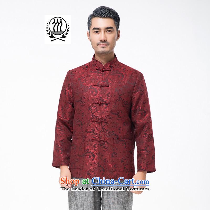 Bosnia and thre line 2015 autumn and winter new red couples with Tang Dynasty long-sleeved national wind in older men birthday celebrations birthdays stamp jacket F881 red men XL_180