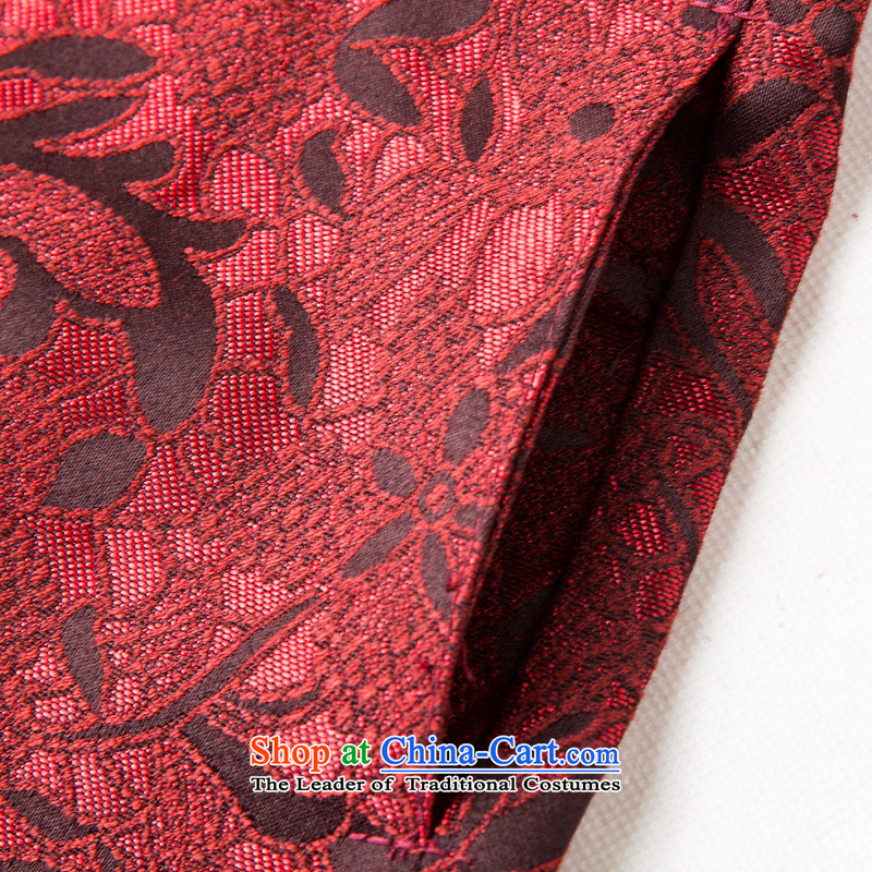 Bosnia and thre line聽2015 autumn and winter new red couples with Tang Dynasty long-sleeved national wind in older men birthday celebrations birthdays stamp jacket F881 red men聽XL/180, thre line (gesaxing and Tobago) , , , shopping on the Internet