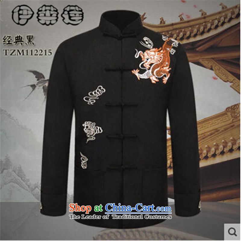 Hirlet Ephraim Fall 2015 New Product Men China wind long-sleeved blouses father grandfather Tang replacing embroidery Xiangyun of older persons in the chinese black T-shirt jacket 175