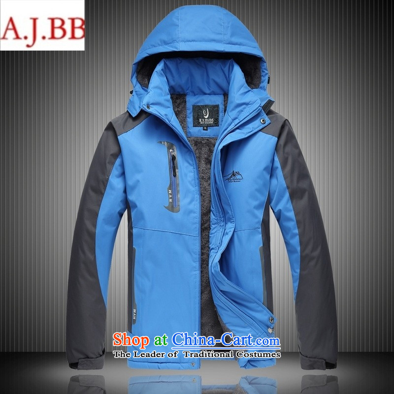 September clothes shops _2014 new autumn and winter outdoor men men's emergency unit plus lint-free thick-yi fertilizer xl climbing red聽XXL