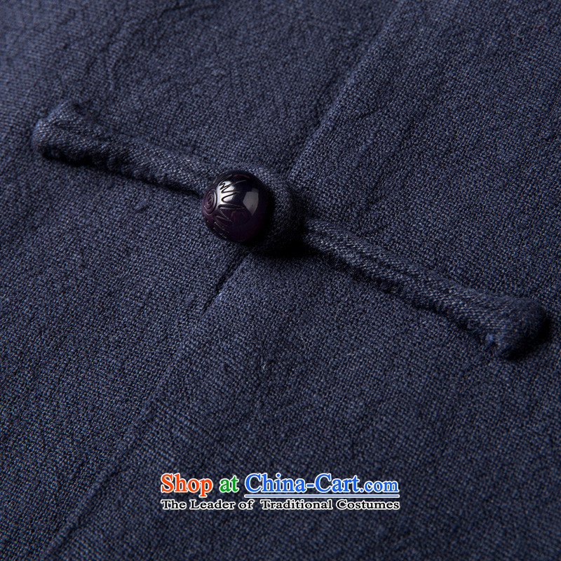 Thre line autumn and winter and new men pure color Tang blouses national wind in older Chinese cotton linen collar Tang jackets grandpa father replacing F1323聽L/175, blue line (gesaxing Bosnia and thre) , , , shopping on the Internet