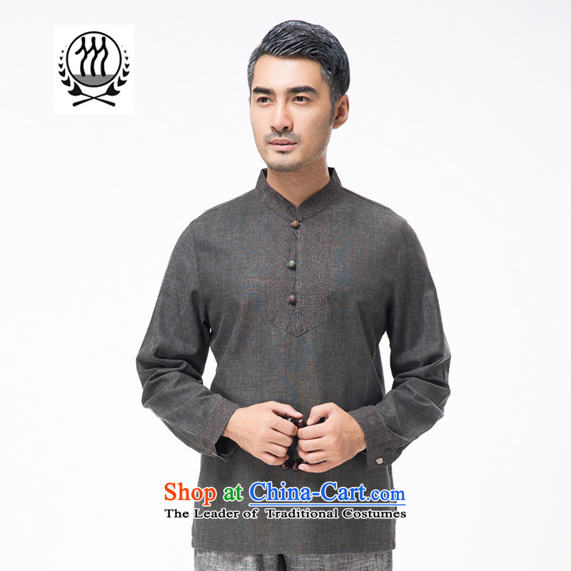 Bosnia and new products during the spring and autumn line thre middle-aged men hedging cotton linen long-sleeved Tang China wind in older embroidery collar Tang blouses F7758  M/170 Carbon