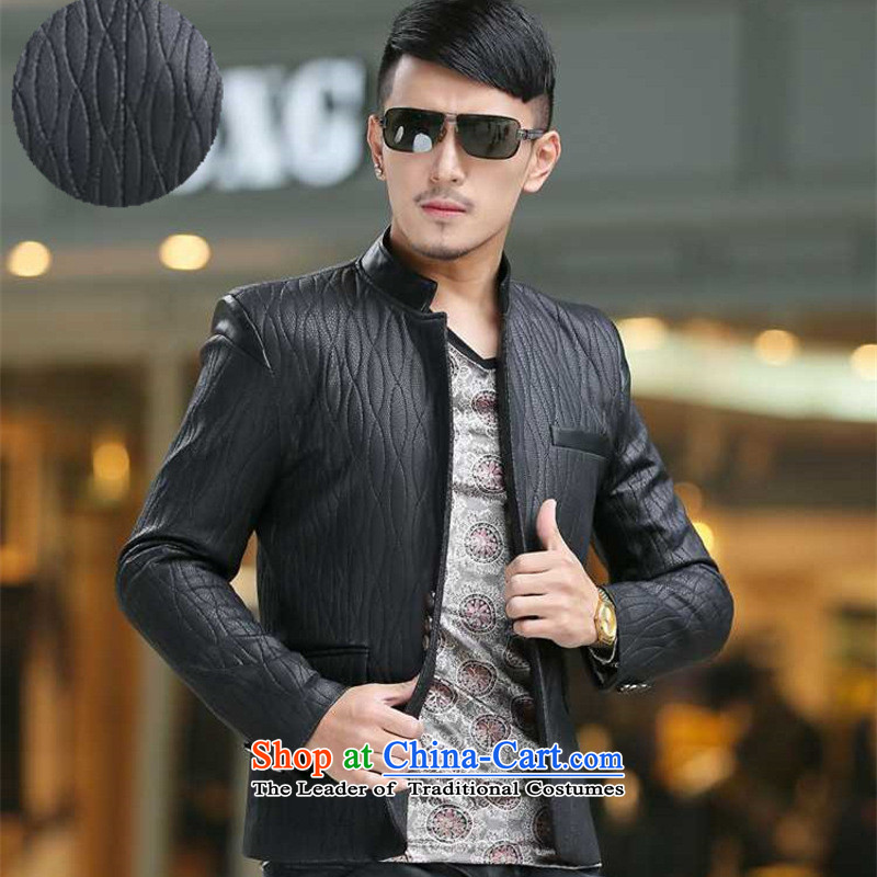 Dan Jie Shi 2015 Fall/Winter Collections new stylish high-end xl business Sau San Men's Mock-Neck leather garments Chinese tunic suit coats map color?XXL
