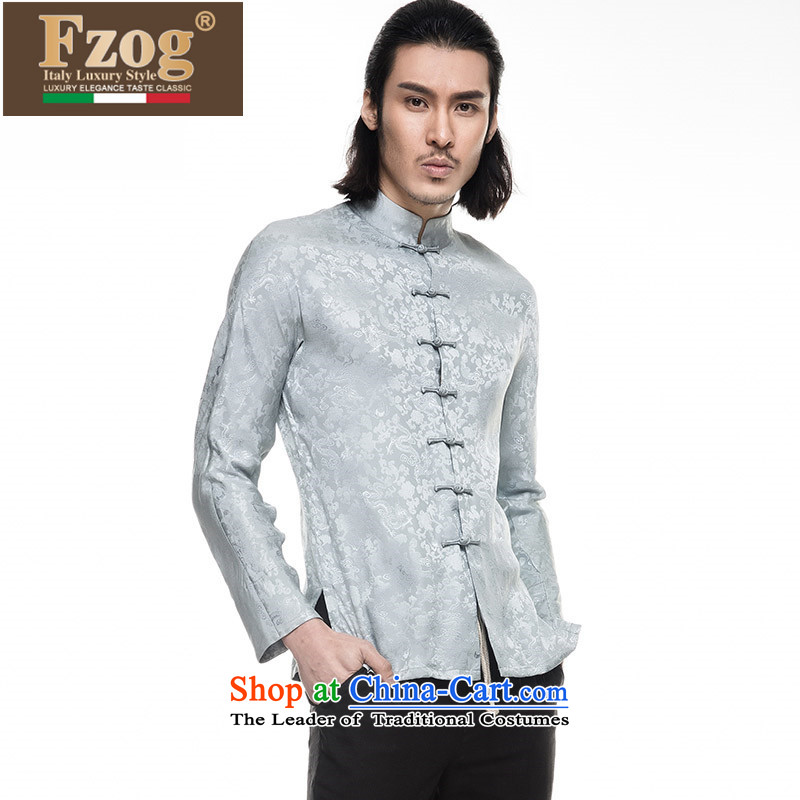 Phaedo grid autumn FZOG_ New China wind silk Men's Mock-Neck embroidering a dial-long-sleeved Tang dynasty and light blue燣