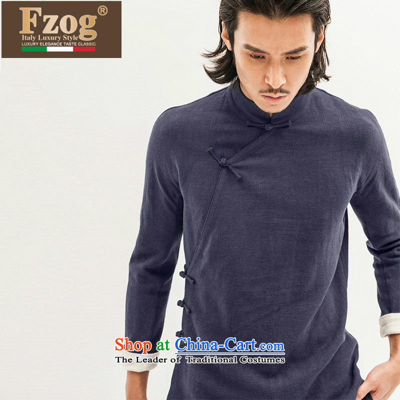 Phaedo of China FZOG/ wind asymmetric cotton linen cheongsams pure color wild collar up long-sleeved blouses and detained Blue?L