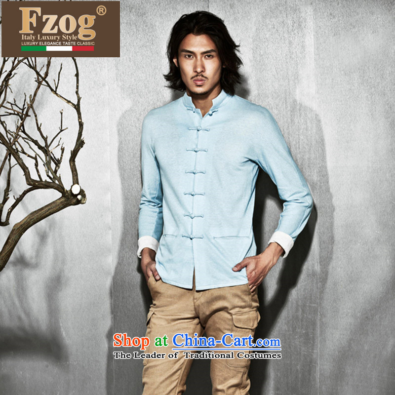 Phaedo of China FZOG_ wind minimalist collar slotted pan detained men pure color on's long-sleeved TANG Sau San blue聽XL