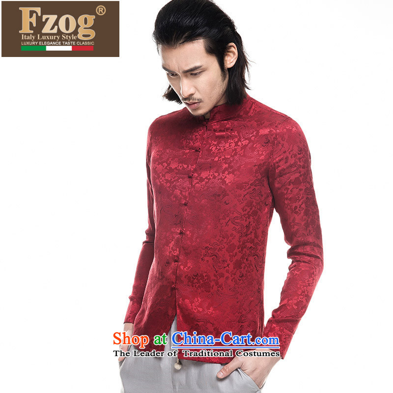 Phaedo of FZOG_ national costumes stamp animal tattoo Men's Mock-Neck tray snap satin long-sleeved blouses Tang Red聽XL