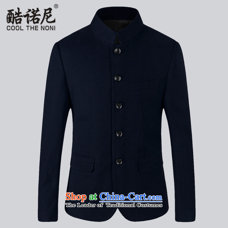 The Benoni 2015 Autumn core Chinese tunic men Korean Tang Dynasty Chinese collar jacket suit Sau San, dark blue?L