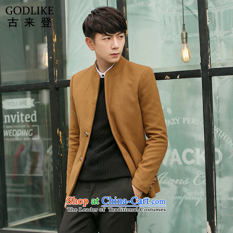 Goulley log _autumn 2015_ on GODLIKE new Chinese tunic Korean Men's Mock-Neck in Sau San long thin coat of men ZSZ01 KHAKI�L