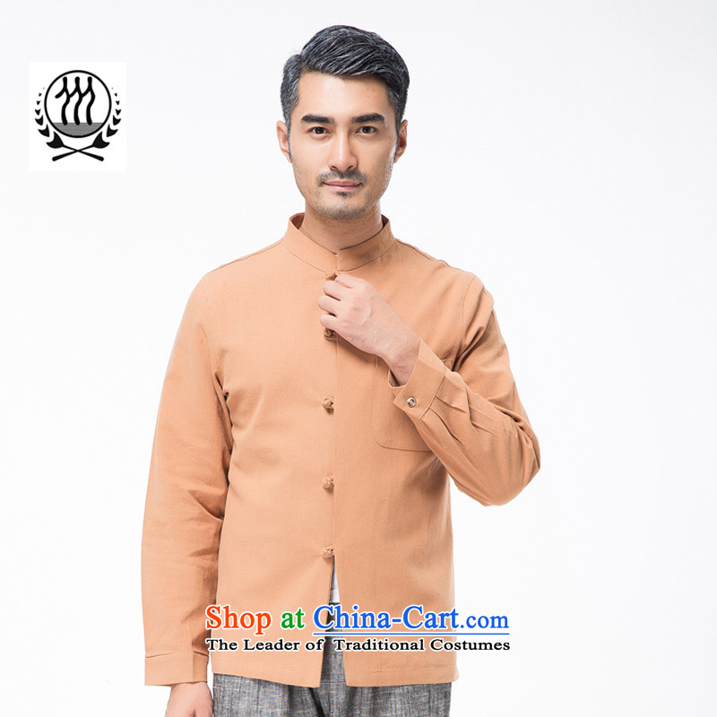 Thre line autumn and winter and new middle-aged men cotton linen collar Tang blouses from older pure color is detained Tang dynasty father replace national costume?F7750??L_175 orange