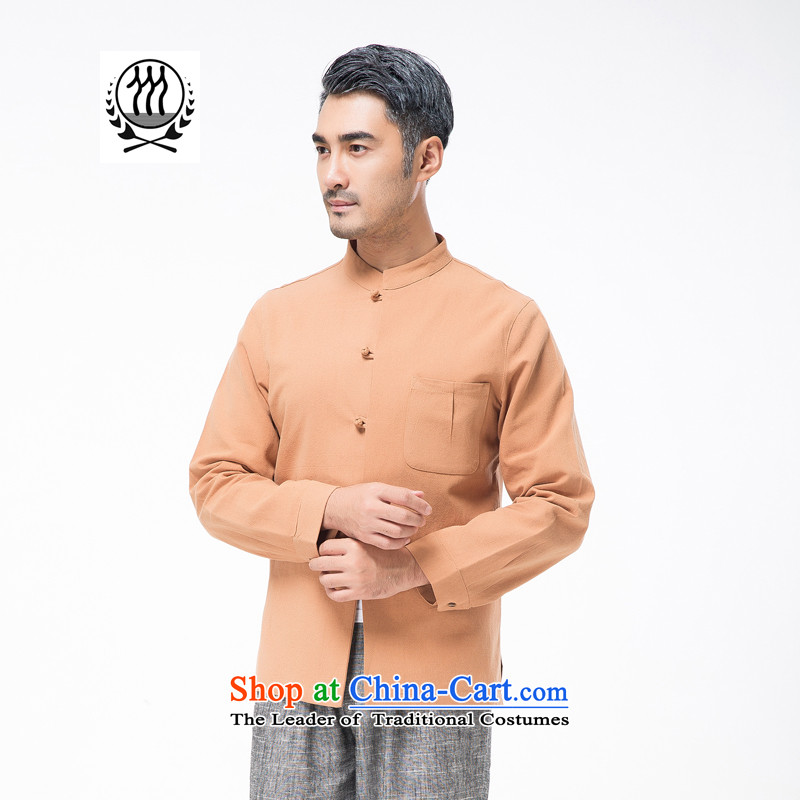 Thre line autumn and winter and new middle-aged men cotton linen collar Tang blouses from older pure color is detained Tang dynasty father replace national costume聽F7750聽orange聽L/175, thre line (gesaxing and Tobago) , , , shopping on the Internet