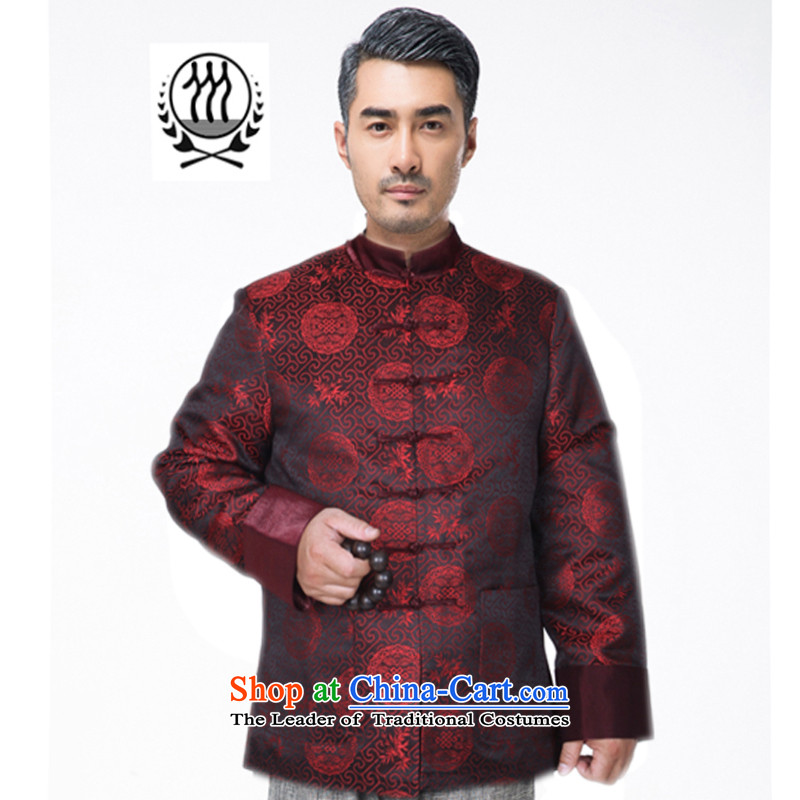 Thre line autumn and winter and new middle-aged men Tang dynasty China wind load auspicious Chinese long-sleeved father in the design of the older Tang jackets F822 M/170 red