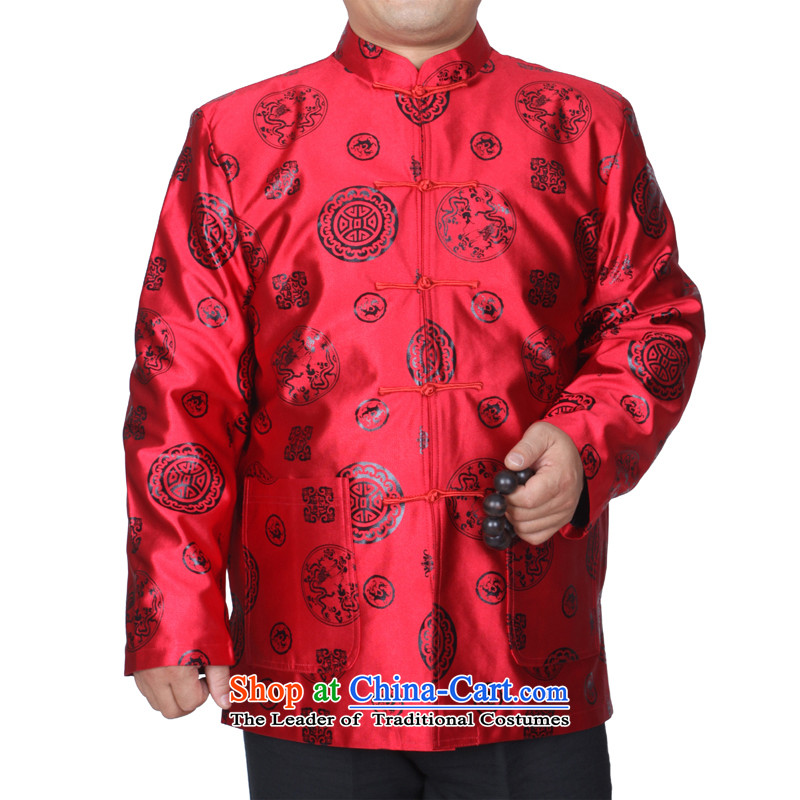 The Cave of the elderly 15 autumn and winter men red jacket older birthday tang Life Too banquet men S1502 cotton red plus 170 yards