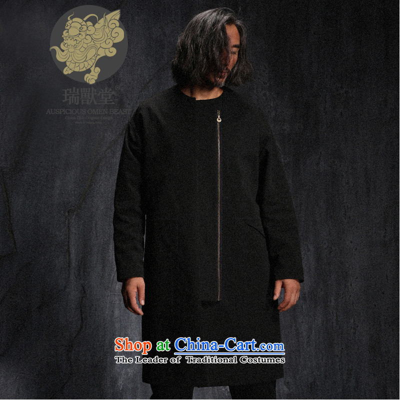 Custom (Sui Tang as deep-wang beast/China wind a door zip male topcoat cheongsams autumn new black pre-sale L