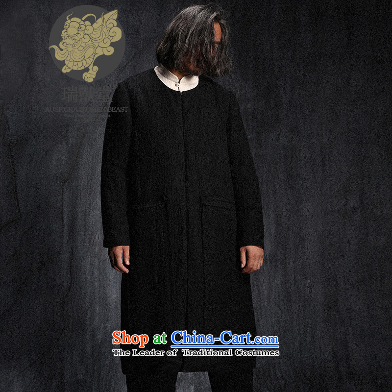 Custom (Sui Tang as virtual pole beast/China wind long linen coat Tang jackets men fall new black pre-sale?M