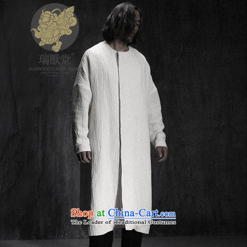 Custom (Sui Tang as water tap beast/China wind minimalist long linen Tang jackets men fall new white pre-sale M