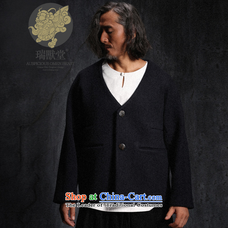 Custom (sui- Woo Tong to animal/China wind personality wool? Tang jackets men fall new blue pre-sale S