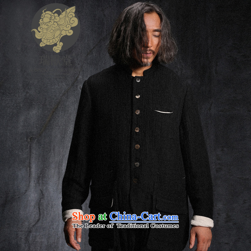 Custom (Sui Tang as Israeli Defense beast/original personality pockets cotton linen Tang jackets men fall new black spot S