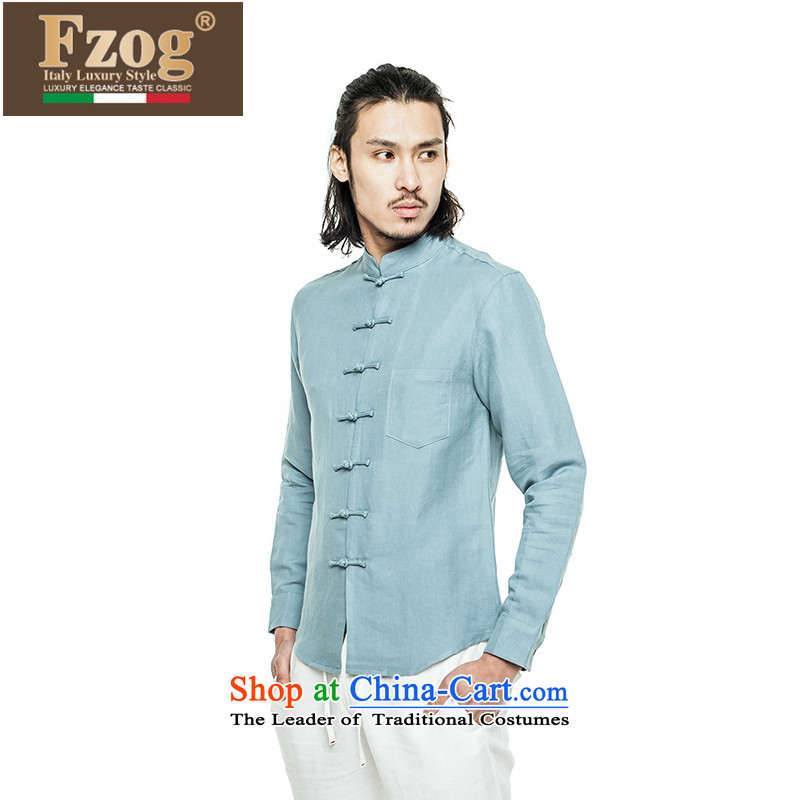 Phaedo of FZOG_ elegance temperament leisure Men's Mock-Neck China wind up the clip cotton linen solid color long-sleeved Tang dynasty blue men聽S