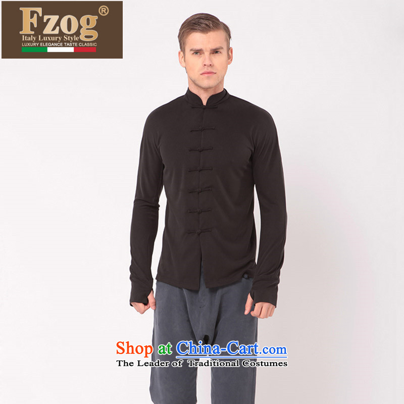 Phaedo of Chinese FZOG/ tray clip male blouses China wind solid color collar long-sleeved Sau San Tong-black casual?M