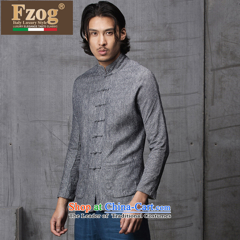 Phaedo grid autumn FZOG/ new spell checker shirt men stereo color tray clip stylish Sau San Tong load collar long-sleeved gray?M