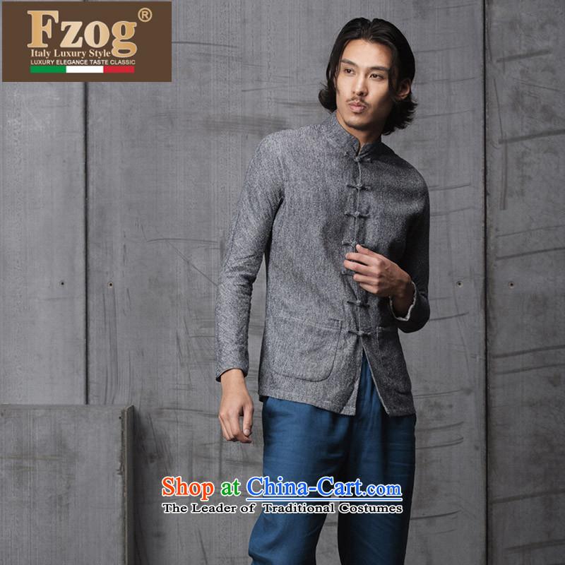 Phaedo grid autumn FZOG/ new spell checker shirt men stereo color tray clip stylish Sau San Tong load collar long-sleeved grayM,fzog,,, shopping on the Internet