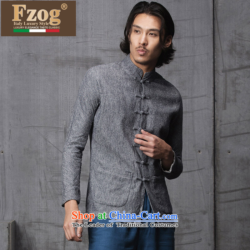 Phaedo grid autumn FZOG/ new spell checker shirt men stereo color tray clip stylish Sau San Tong load collar long-sleeved gray聽M,fzog,,, shopping on the Internet