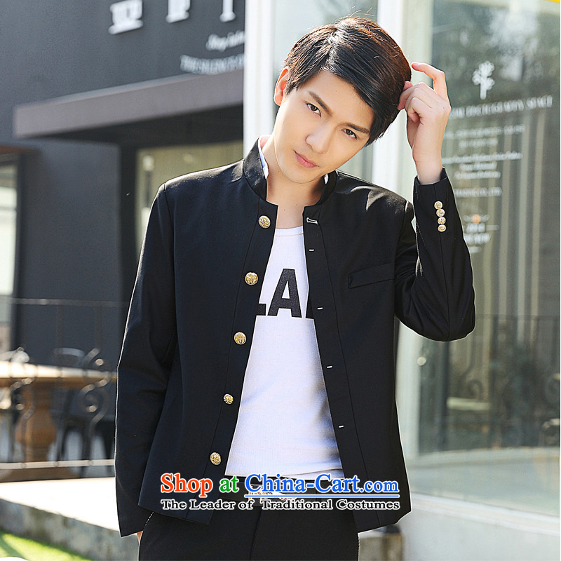 Dan Jie Shi Korean Chinese tunic suit small male and new men casual collar Sau San X06 Black燤