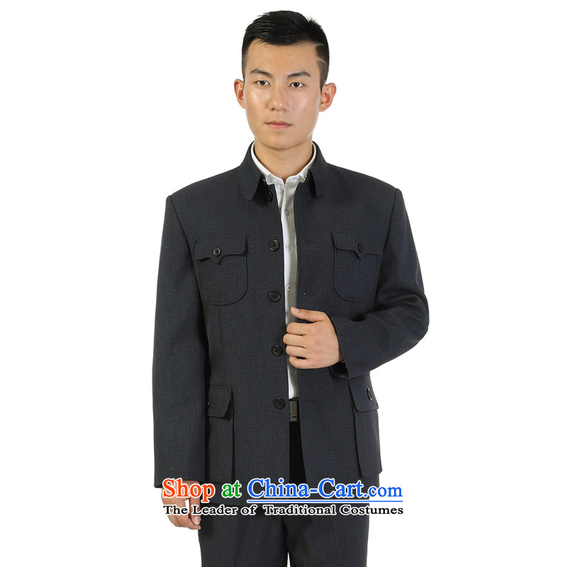 The fall of the older men Chinese tunic kit lapel of older persons serving a father jacket Zhongshan boys father replacing black and gray聽72