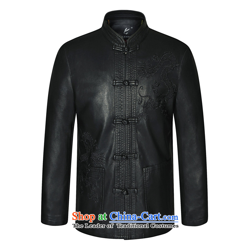 In 2015, Mr autumn and winter New Men Chinese tunic Leather clothes for men Tang dynasty Classic leather jacket smart casual leather jacket Black�190