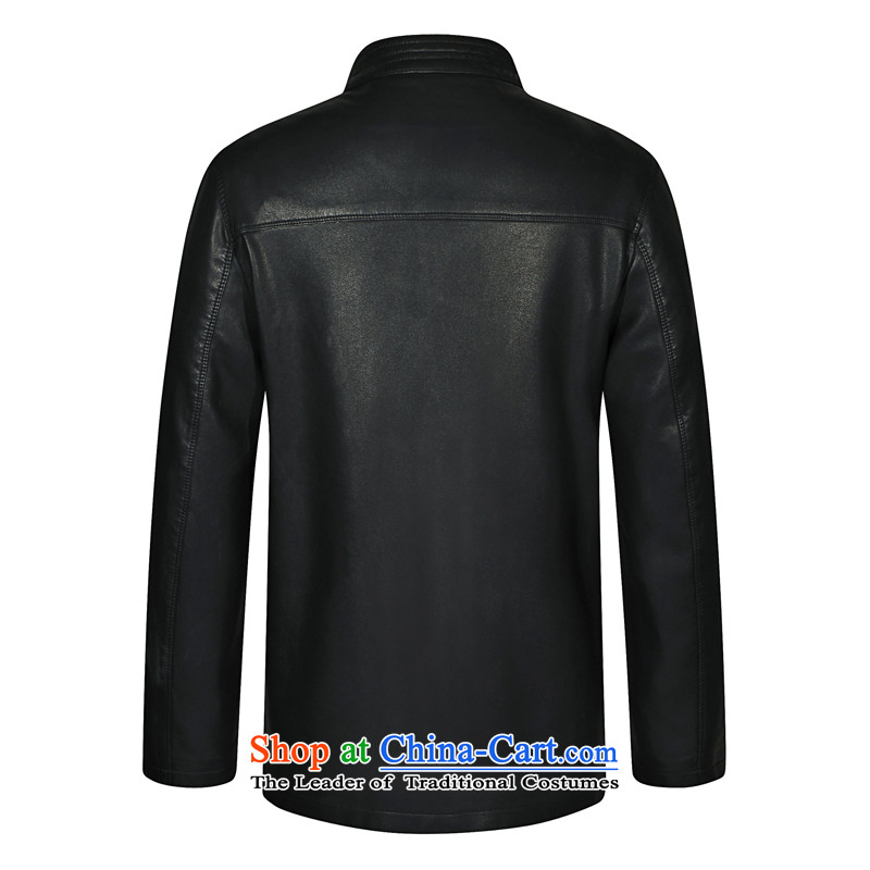 In 2015, Mr autumn and winter New Men Chinese tunic Leather clothes for men Tang dynasty Classic leather jacket smart casual leather jacket black聽and leaf.... 190, shopping on the Internet