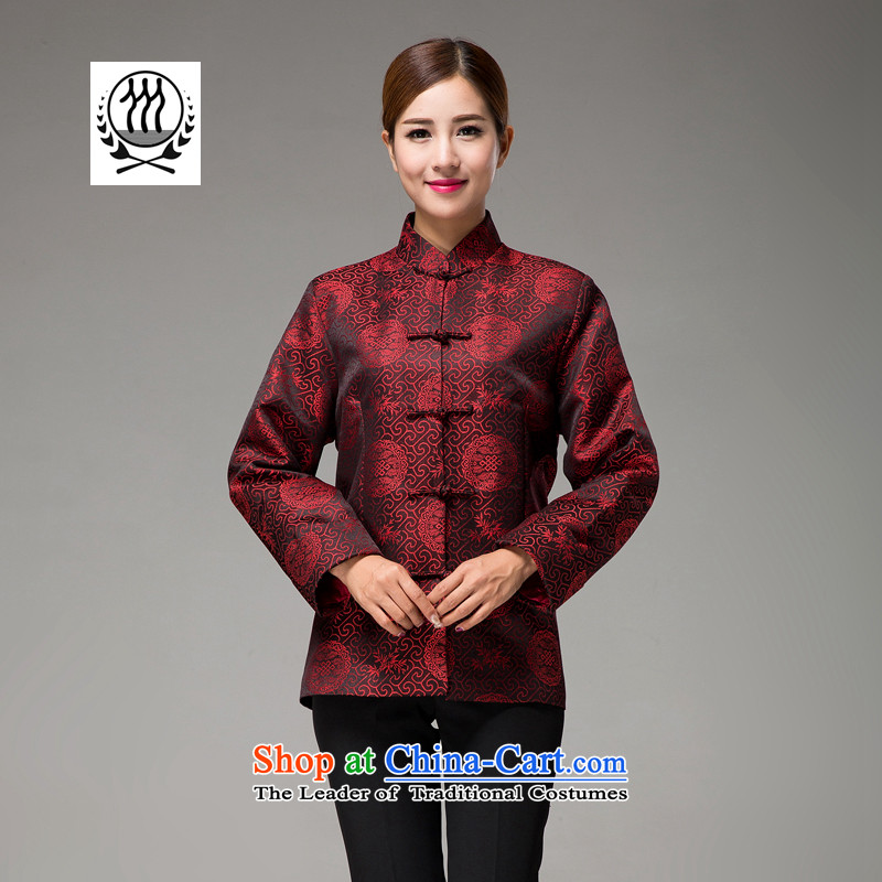 Thre line autumn and winter and new female couple replacing Tang blouses national wind in the design of the auspicious Chinese long-sleeved older mom and dad couples with F1531 women燤_170 wine red