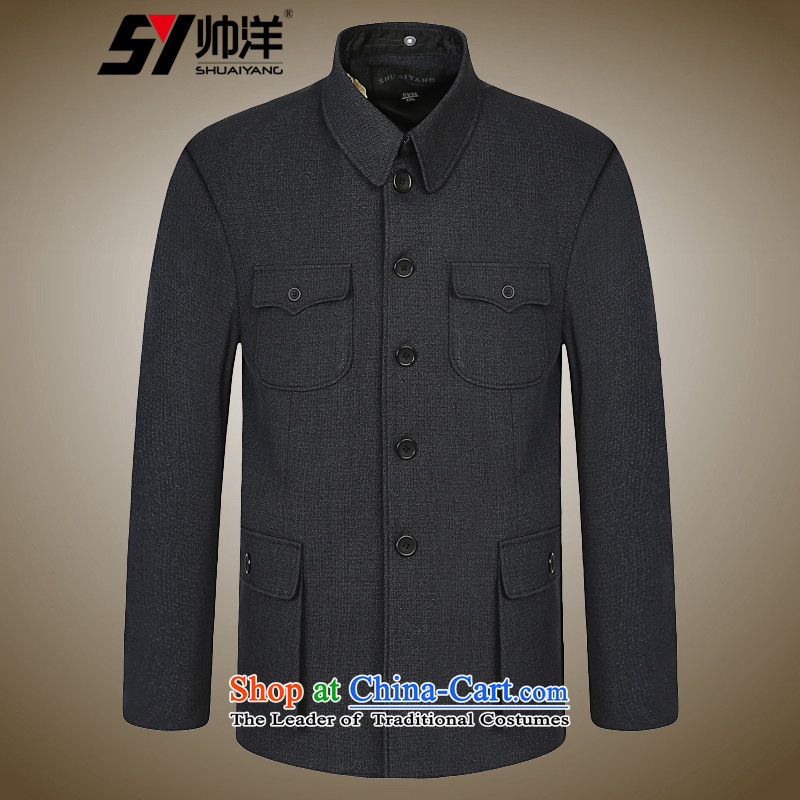 The new ocean Shuai Chinese tunic suit China wind national costumes Chinese men and Tang dynasty during the spring and autumn Long-sleeve single gray?XL