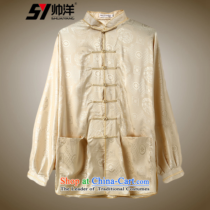The Ocean during the spring and autumn long-sleeved tai chi Shuai Service with both men and women, cotton linen Kam martial arts in costume older exercise clothing jogging services optional multi-colored yellow燣