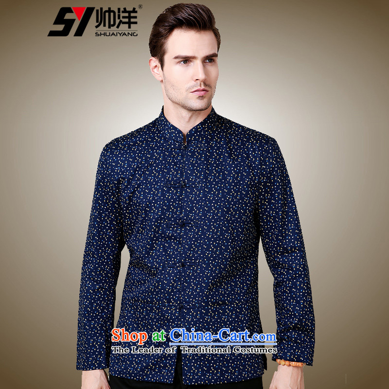 The new 2015 Yang Shuai Sau San crabapples stamp men Tang dynasty China wind long sleeved shirt collar Chinese shirt Navy Blue聽175