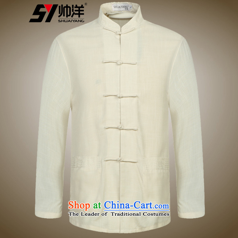 Load the new 2015 Yang Shuai men Tang dynasty long-sleeved shirt collar China wind men's shirts, Chinese gown beige�0